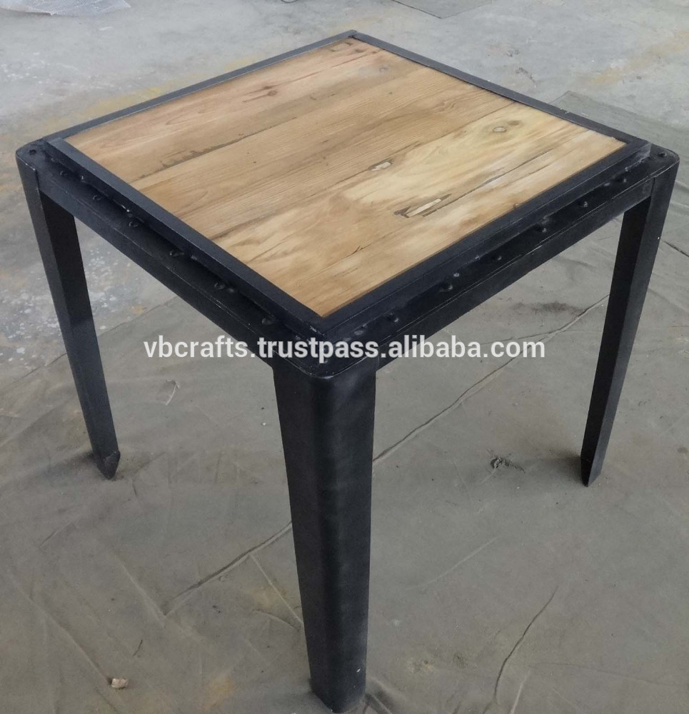 Industrial Metal Rivet Square Dining Table Buy Industrial Wood