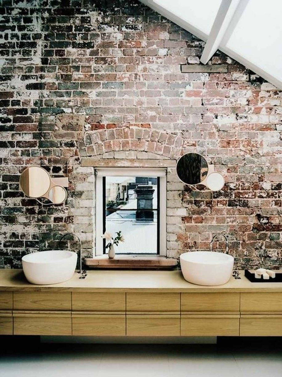 Industrial Modern Bathroom With Brick Walls So Bold And Dramatic