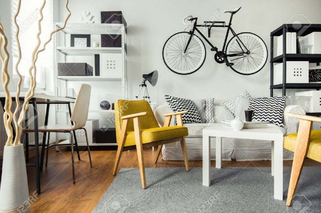 Interior Of Contemporary Living Room For Hipster Stock Photo