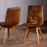 Italian Leather Buttoned Curved Seat Dining Chair The Orchard