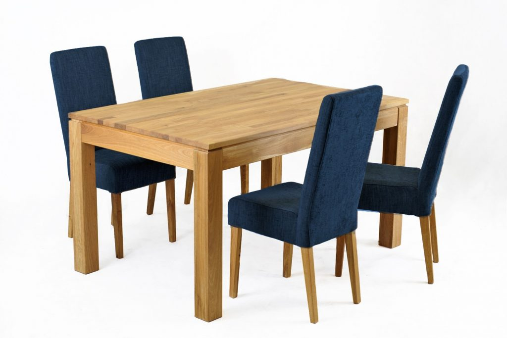 Jack Fabric Dining Chair Oak Legs Navy Blue Funiquecouk