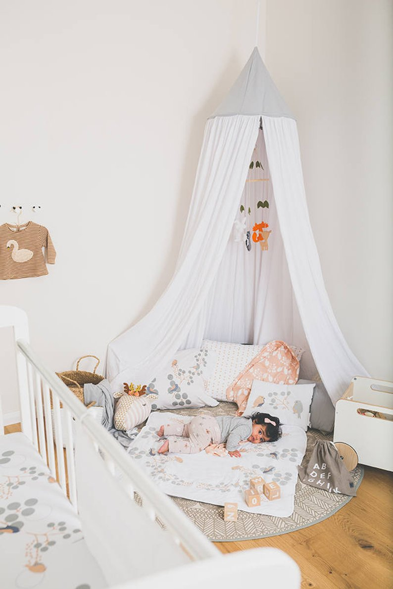 Kids Play Tent Bed Canopy White Organic Cotton Hanging Etsy