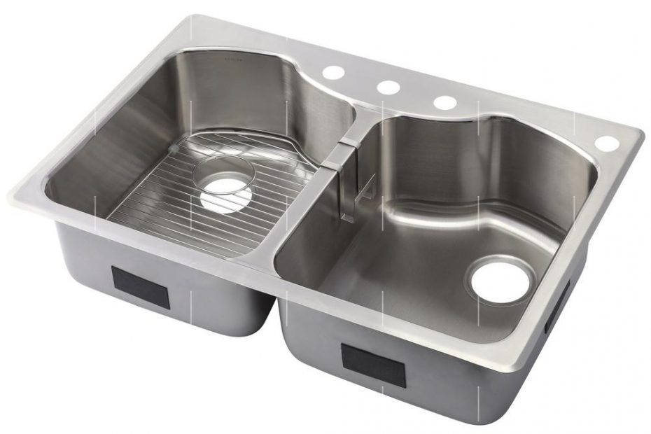 Kohler Octave Dual Mount Stainless Steel 33 In 4 Hole Equal Double