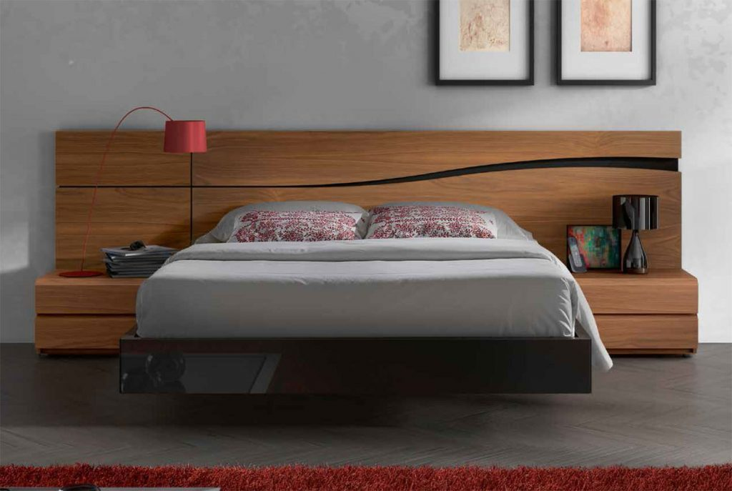 Lacquered Made In Spain Wood High End Platform Bed With Designer