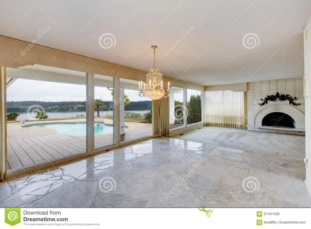 Large Luxury Empty Living Room With White Marble Floor Large Wi
