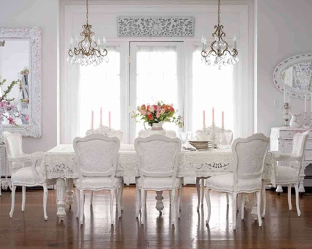 Large Shab Chic Dining Room With Double Small Chandeliers Over