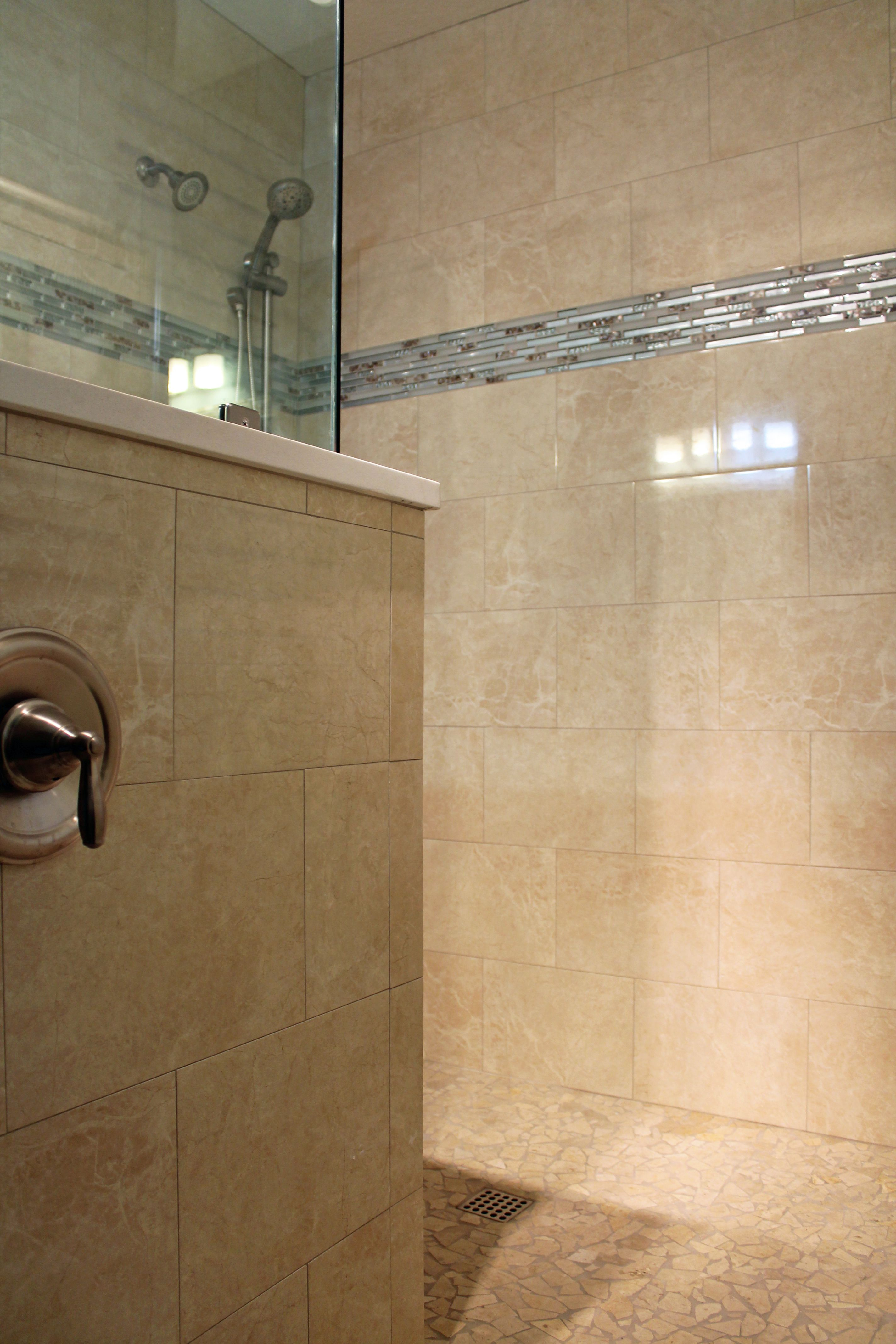 Image of: Large Tile Shower Design Travertine Look Wall Tile Blue Glass Layjao