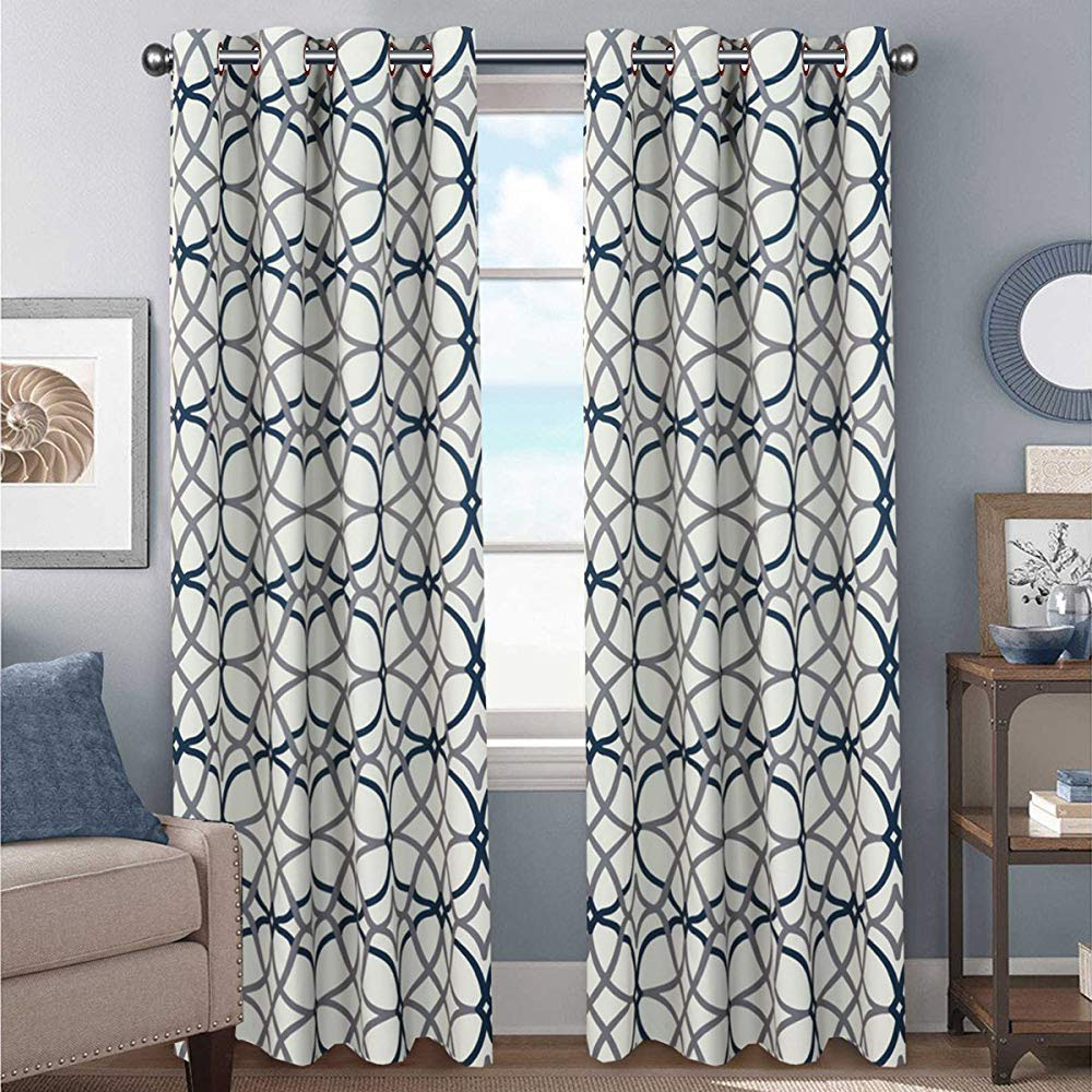 Lattice Geometric Gray Bold Modern Farmhouse Curtains For Living