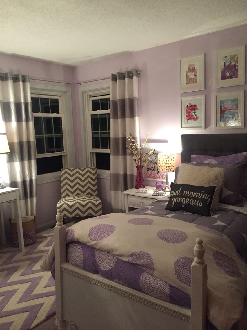 Lavender And Grey Teen Bedroom For The Home Girls Bedroom Cozy