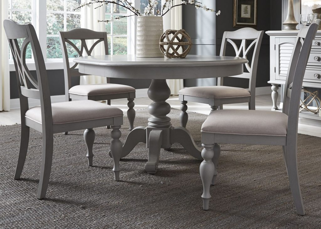 Liberty Summer House Dove Grey Round Extendable Dining Table