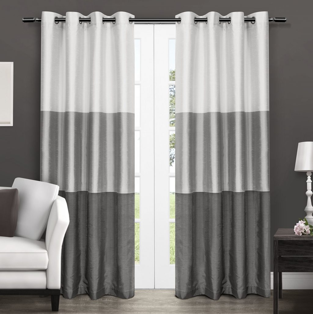 Light Dark Gray Color Block Modern Farmhouse Curtains For Living