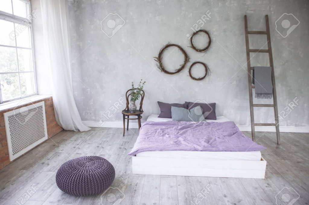 Light Loft Style Bedroom Interiordesign Made In Gray And Purple