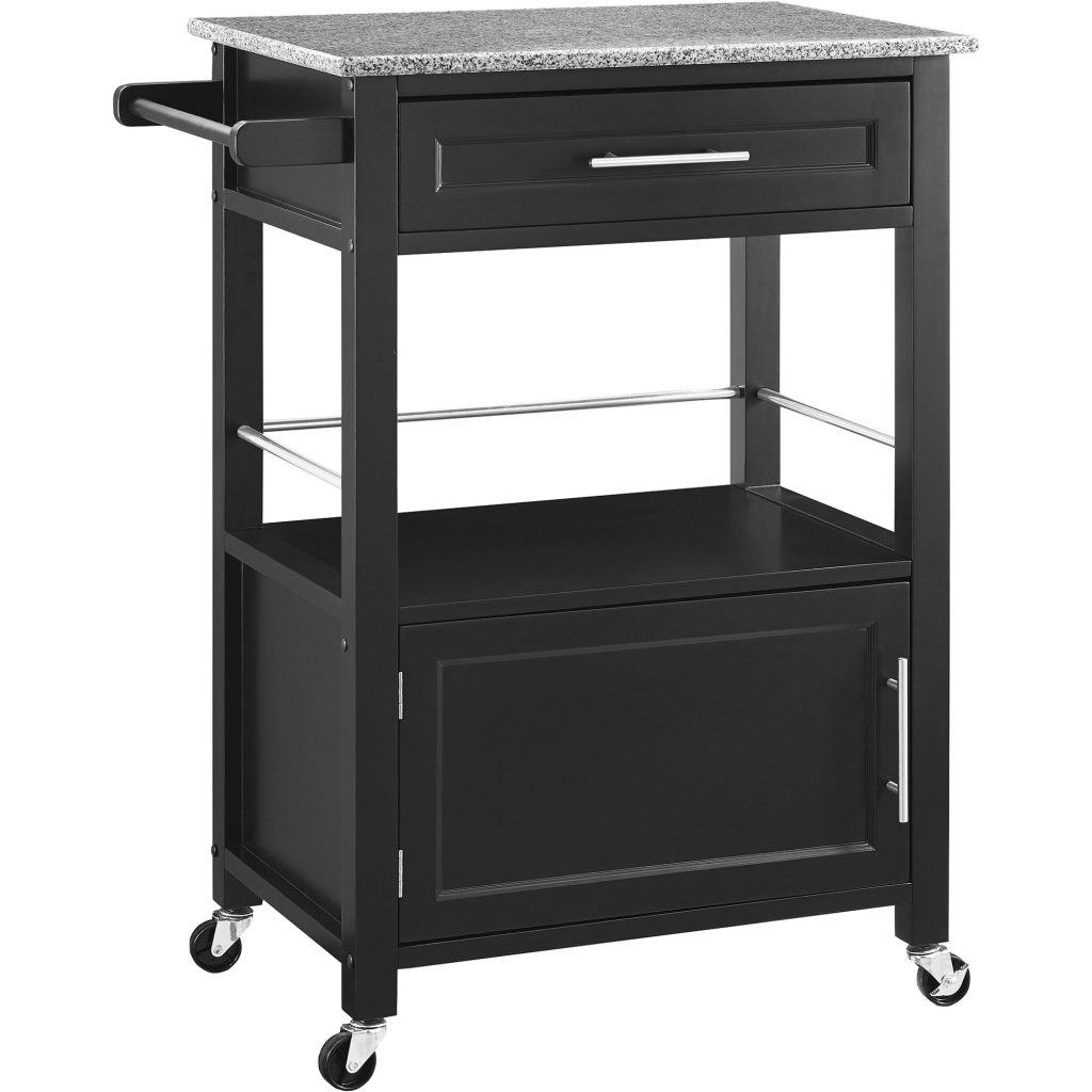 Linon Mitchell Kitchen Island Cart With Granite Top Black Www