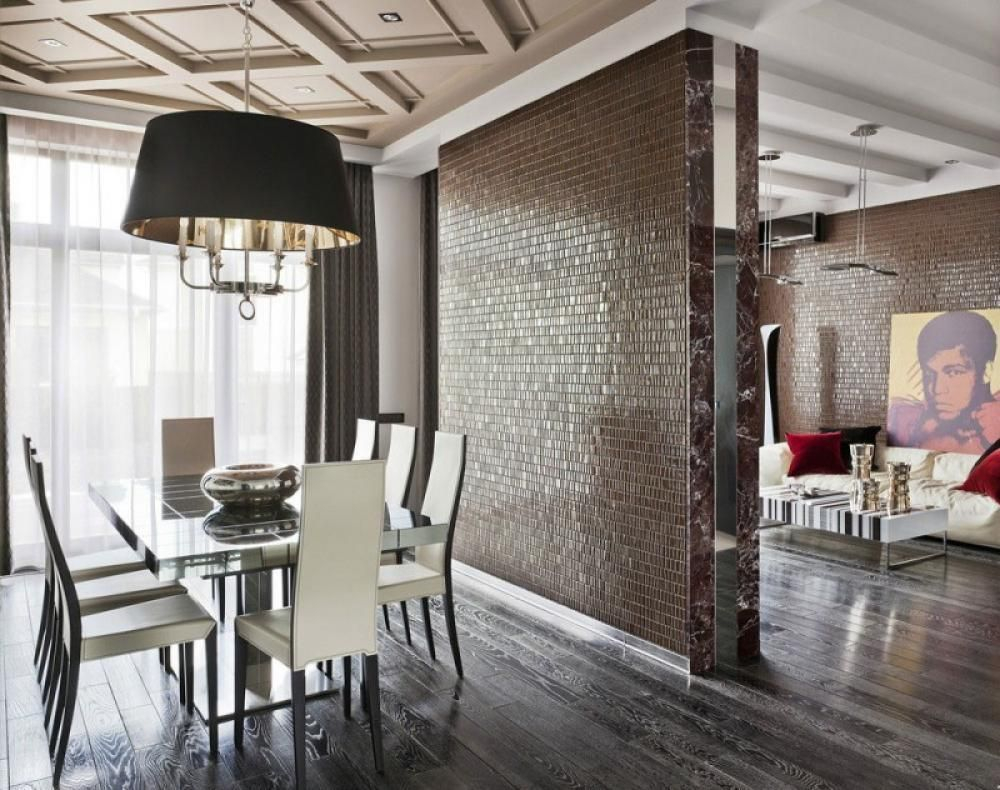 Living Room And Dining Room Design Separating With Wall Partition