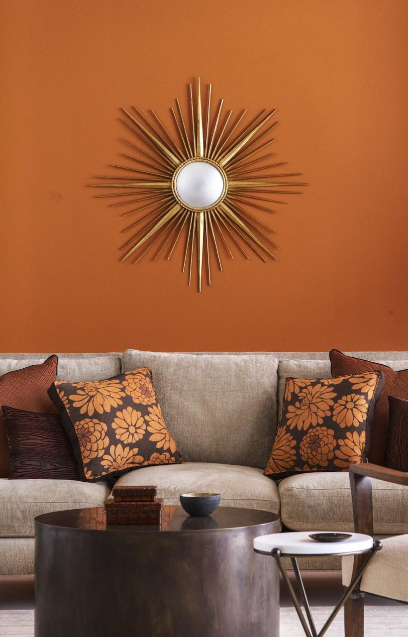 Living Room Burnt Orange And Brown Make For A Warm Plus Living