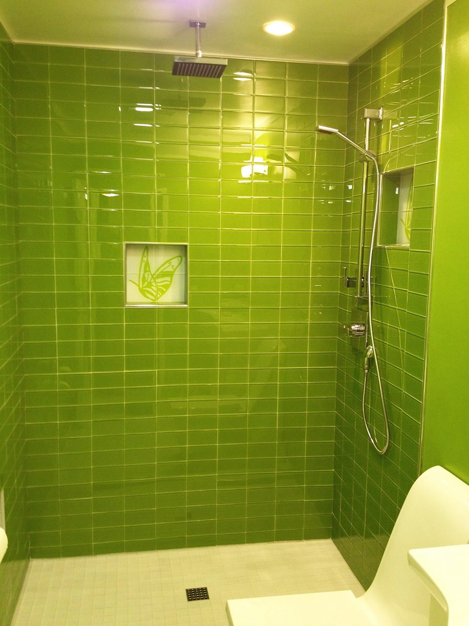 Lush Lemongrass 3x6 Green Glass Subway Tile Shower Installation