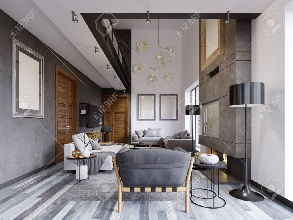 Luxurious Lof Interior Design Living Room In A Hipster Style With