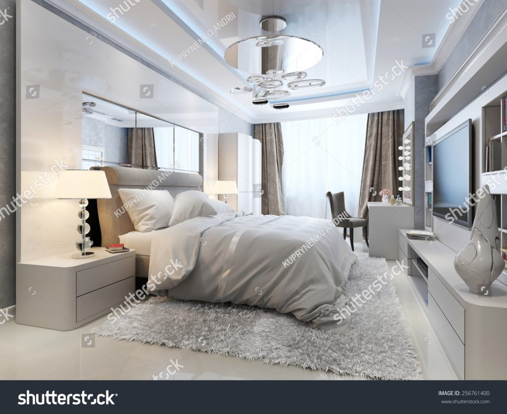 Luxury Bedroom Interior 3 D Picture Stock Photo Edit Now 256761400