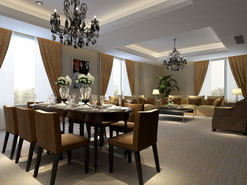 Luxury Ideas Of Living And Dining Room Designs With Oval Brown