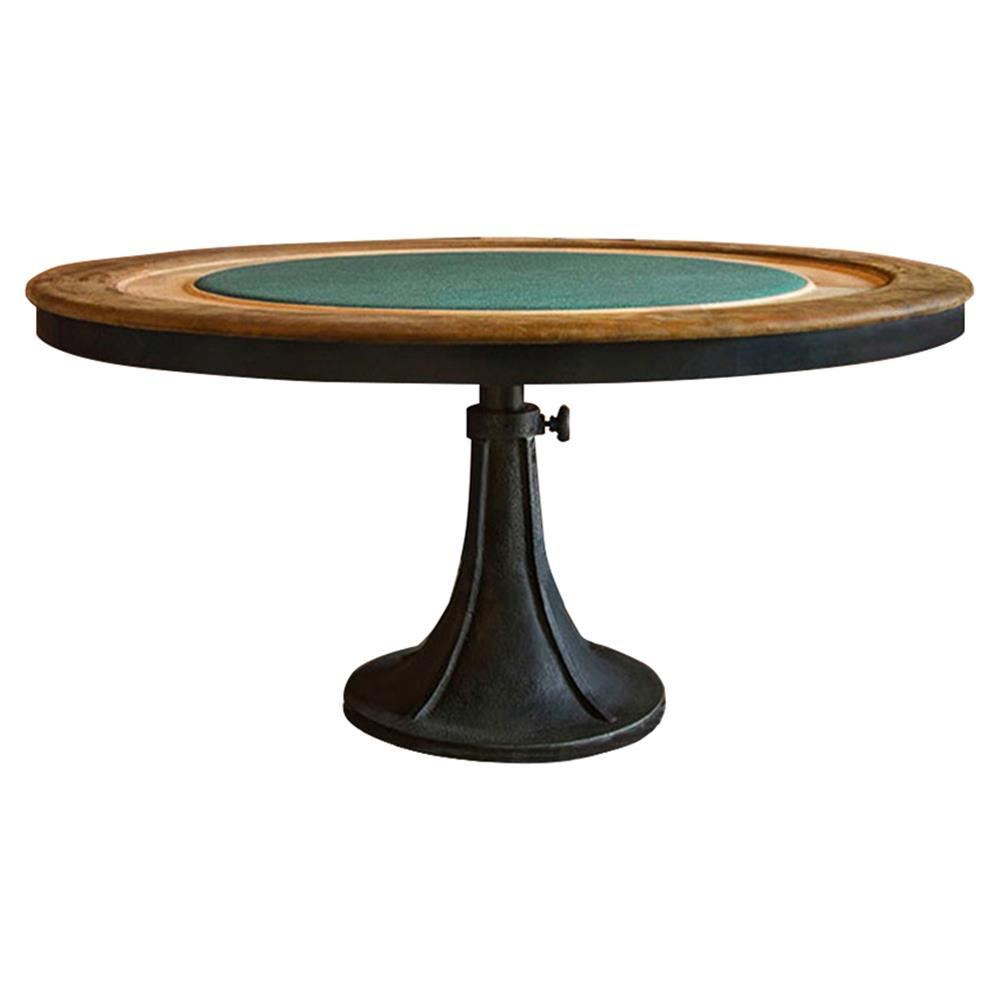 Mandalay Industrial Loft Wood Green Felted Cast Iron Poker Table