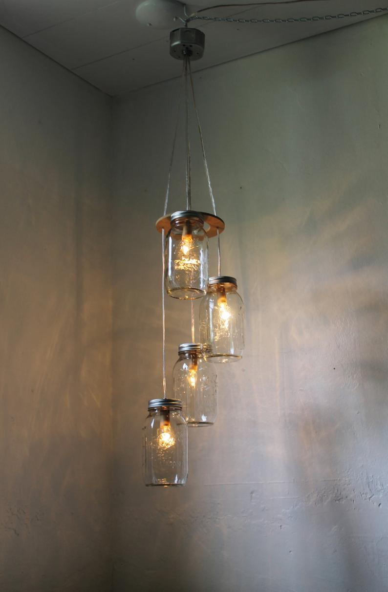 Mason Jar Chandelier Hanging Mason Jar Pendant Lighting Etsy