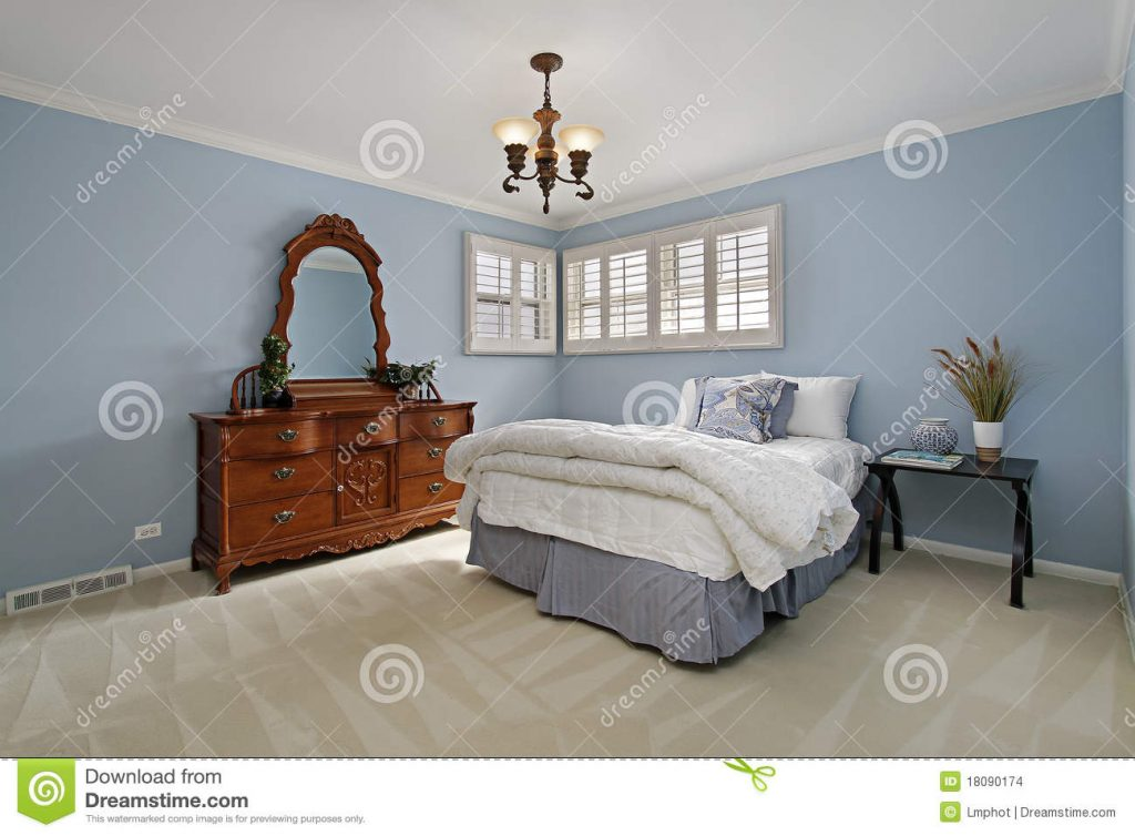 Master Bedroom With Light Blue Walls Stock Photo Image Of