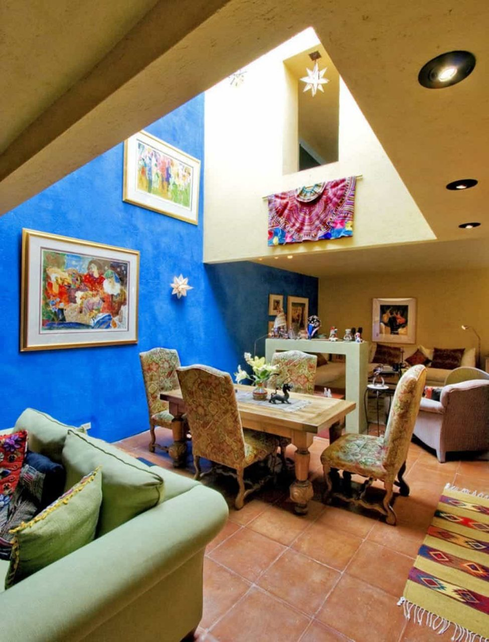 Mexican Interior Open Space Dining Room With Painting Wall Arts