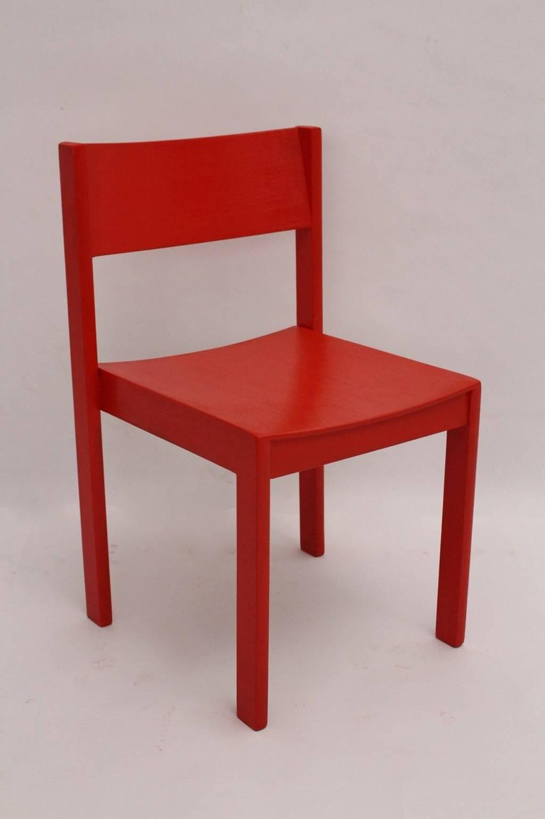 Mid Century Modern Red Carl Aubck Dining Room Chairs