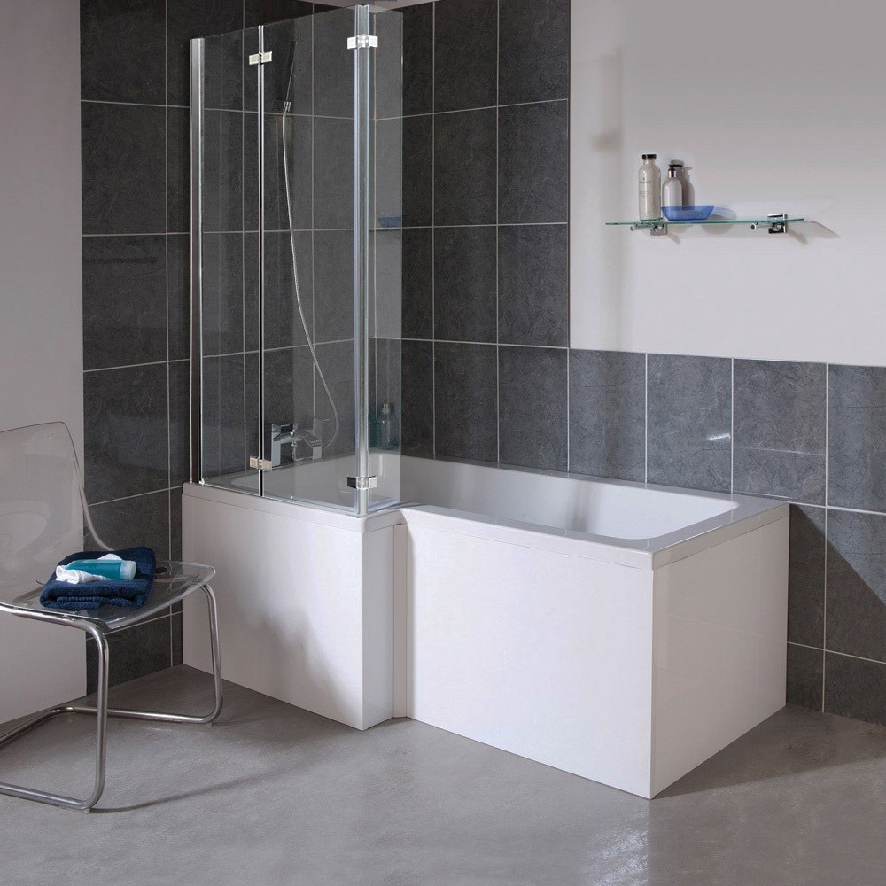 Milan Shower Bath 1700mm L Shaped With Double Hinged Screen Mdf
