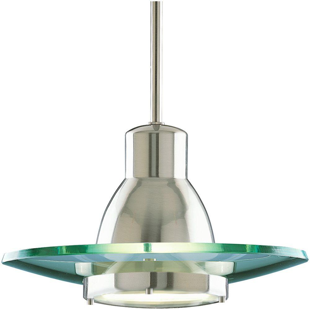 Mini Pendant Light Fixture Brushed Nickel Clear Glass Modern Design