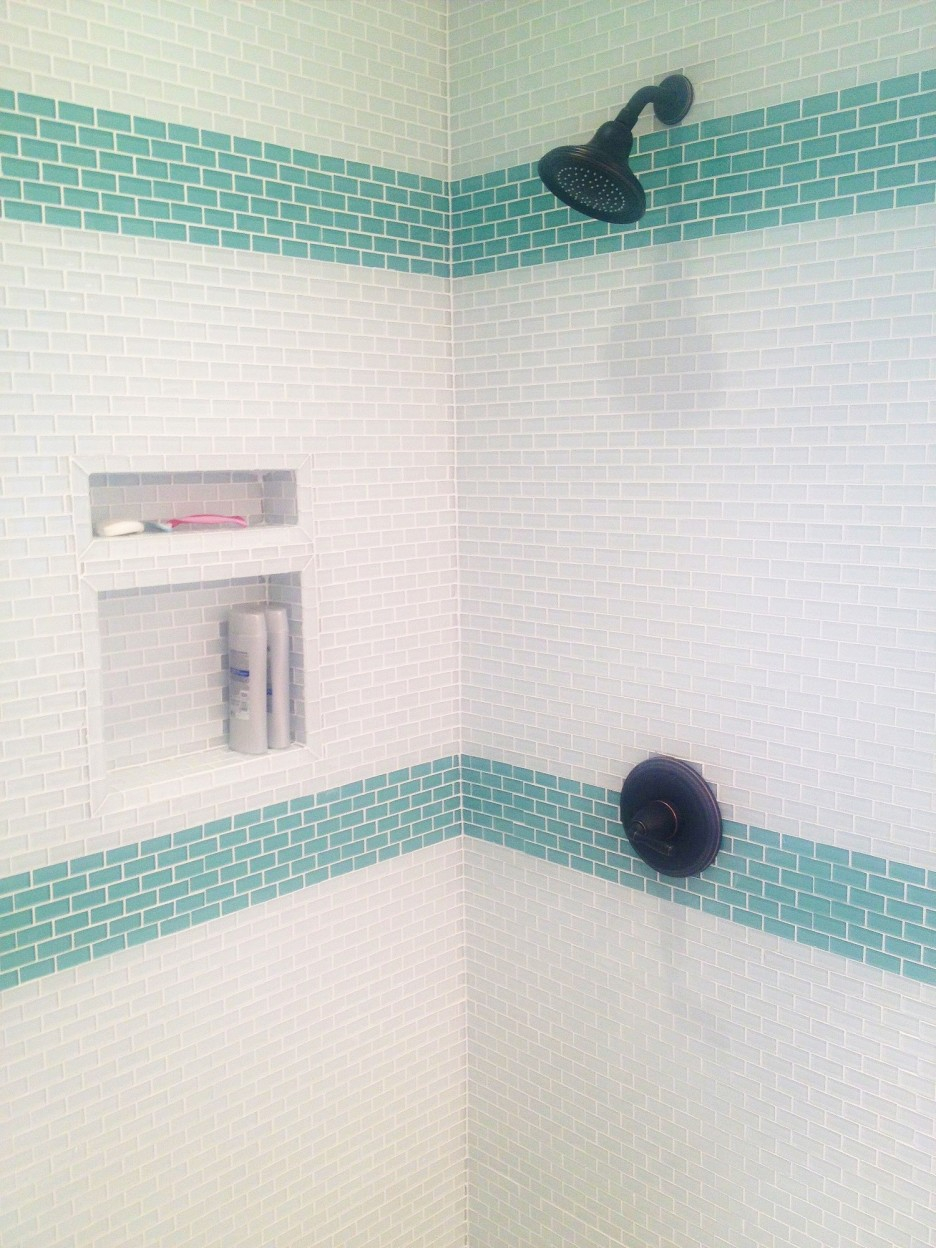 Mini Subway White And Green Glass Tile Mixed Black Brushed Nickel