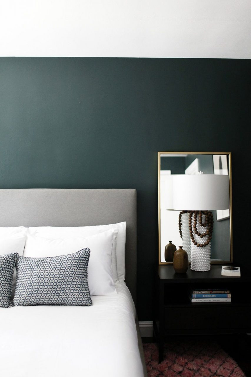 Minimalist Bedroom With Dark Green Walls Gorgeous Paint Color Is