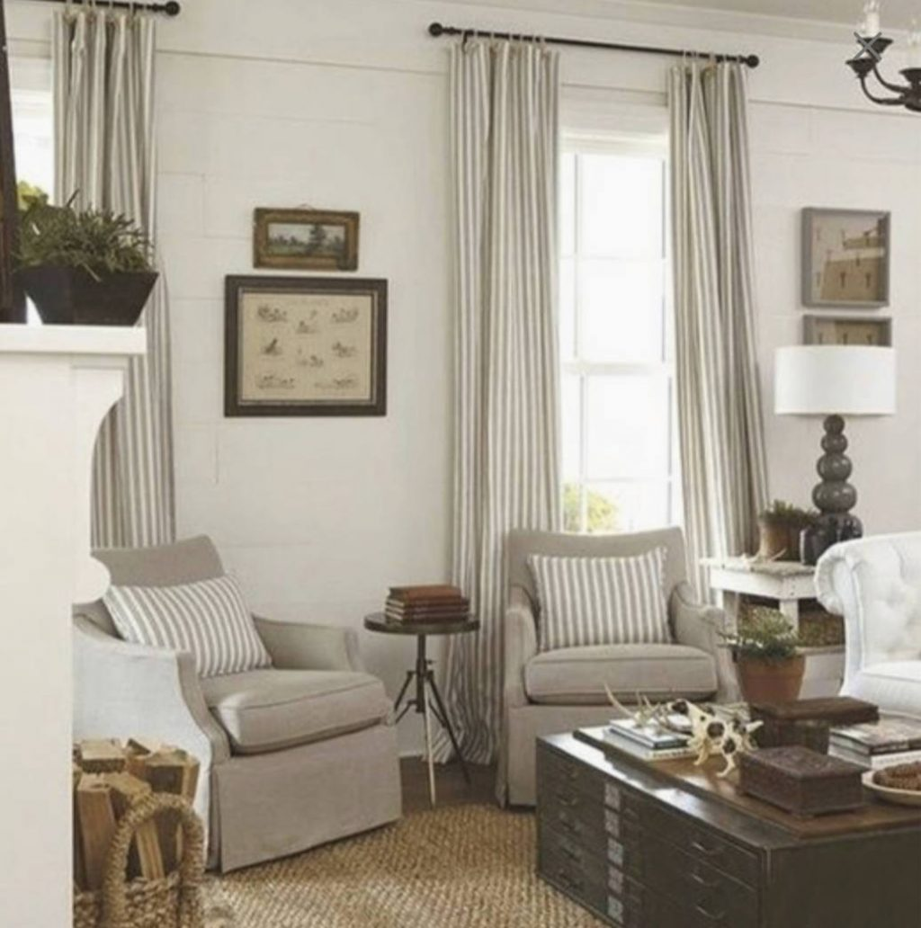 Modern Farmhouse Curtains Tan Stripe Curtains Cottage Chic Etsy