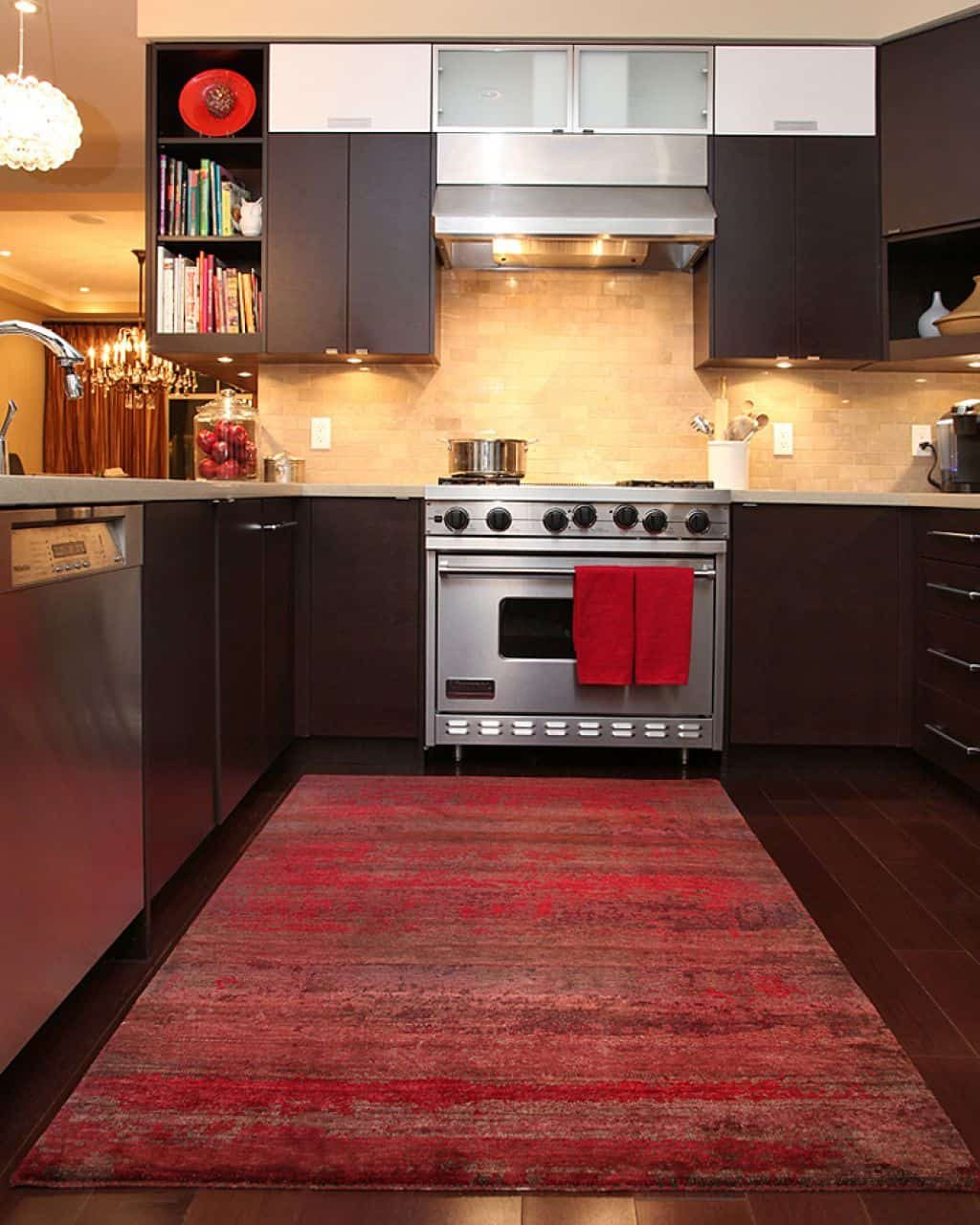 Modern Kitchen With Brown Cabinets And Red Rug Cleaning Ways For