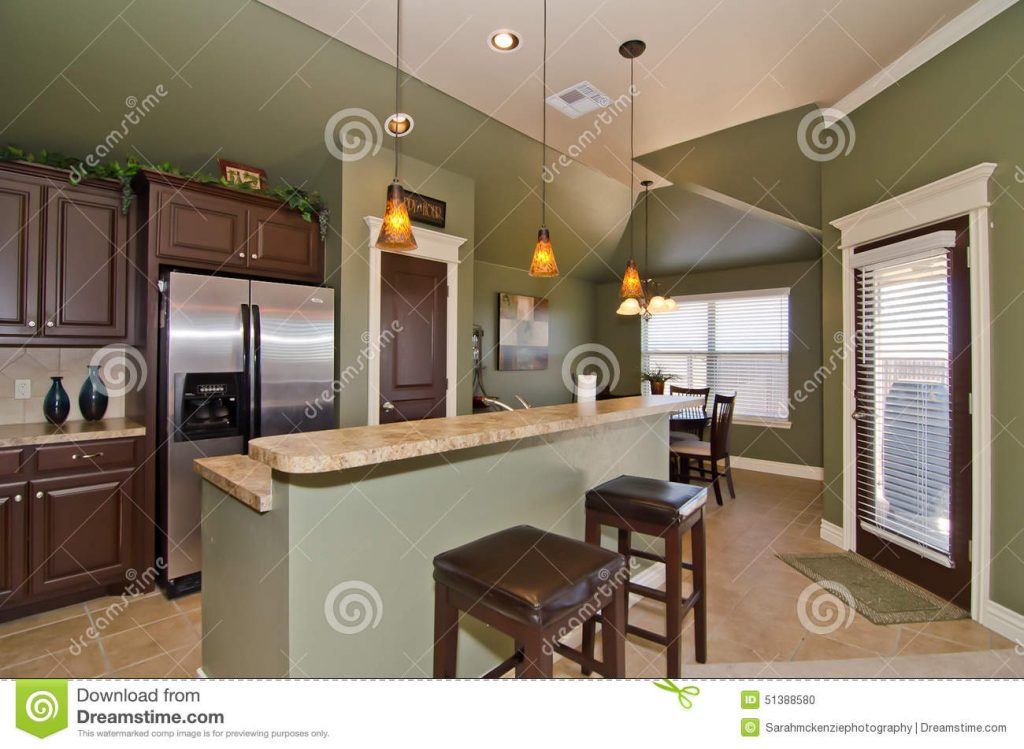 Modern Kitchen With Sage Green Walls Stock Photo Image Of