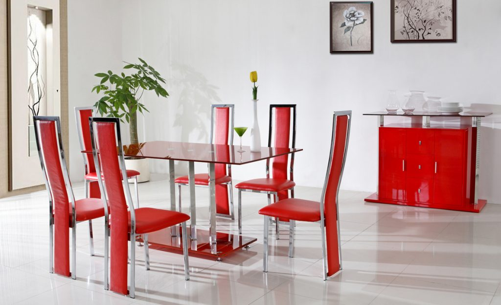 Modern Red Dining Room Table And Chairs For Apartment With White