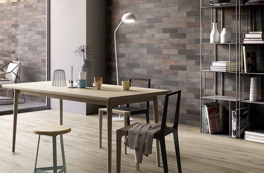 Modern Scandinavian Dining Area Concept With Brick Feature Wall