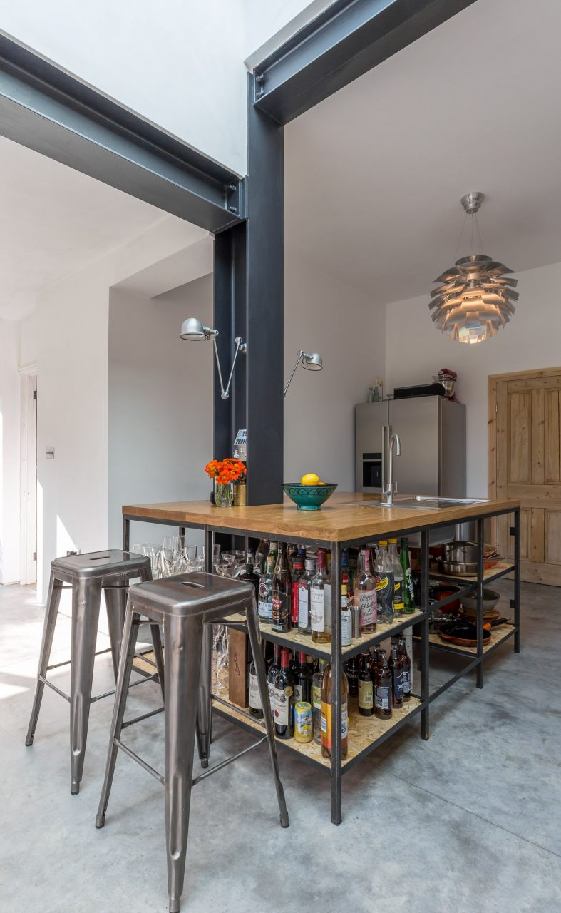 Modern Style Industrial Kitchen Open Shelving Exposed Structure