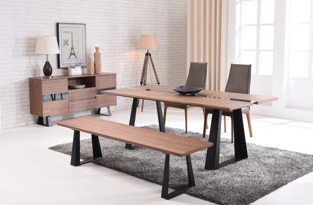 Modern Walnut And Glass Dining Table On Black Mate Legs Houston