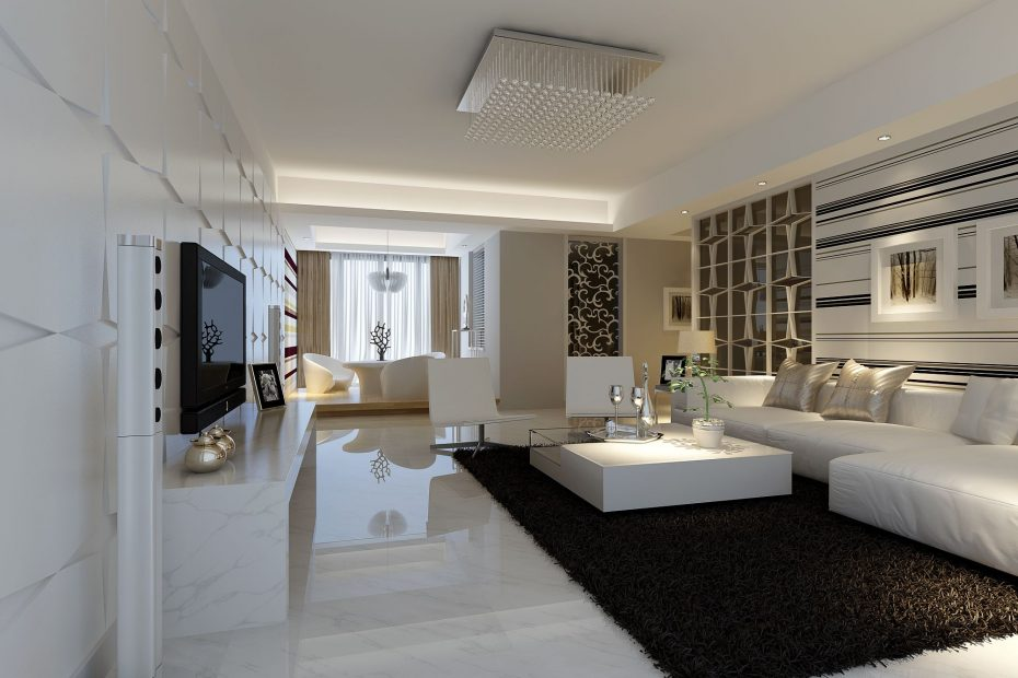 Modern White Marble Flooring For Living Room With Black Carpet And