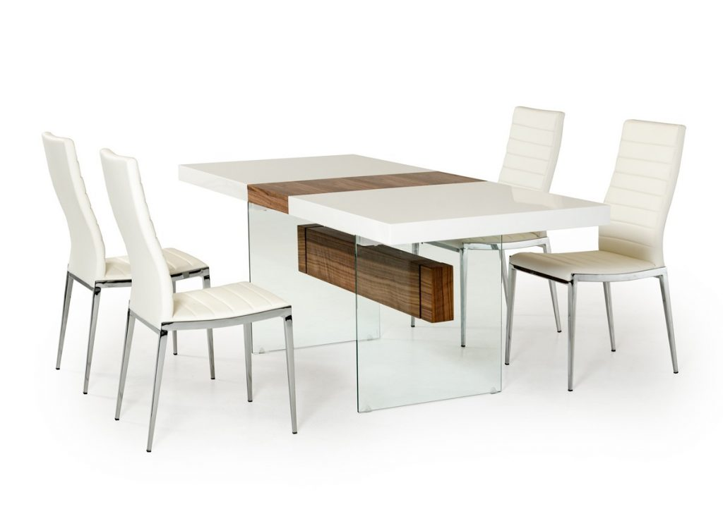 Modrest Sven Contemporary White Walnut Floating Extendable Dining