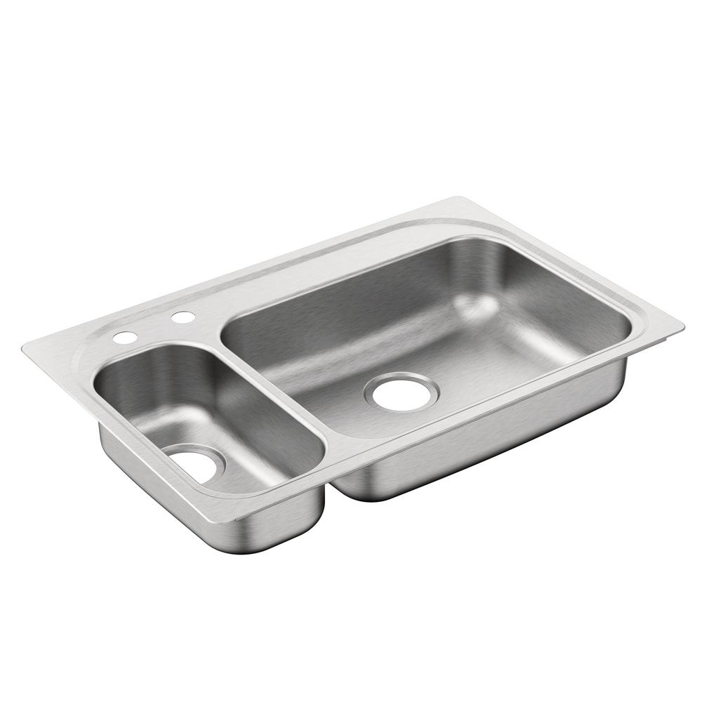 Moen 2000 Series Drop In Stainless Steel 33 In 2 Hole Double Basin