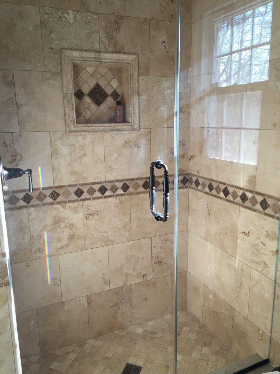 My Bathroom Renovation Travertine Tile And Custom Frameless Shower
