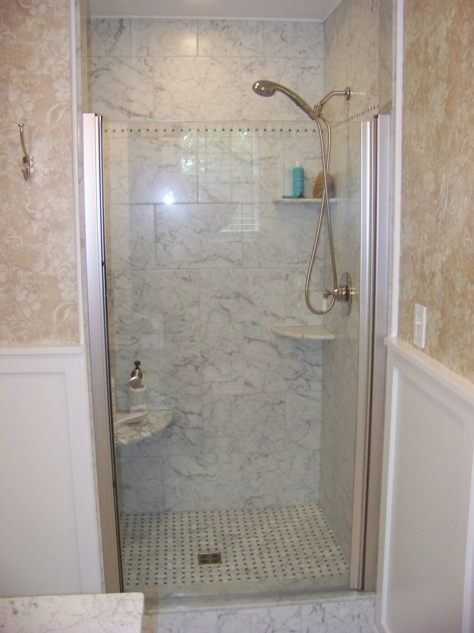 Narrow Tiled Shower Stall With Corner Wall Shelves For Small