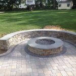 Stone Patios with Sitting Walls