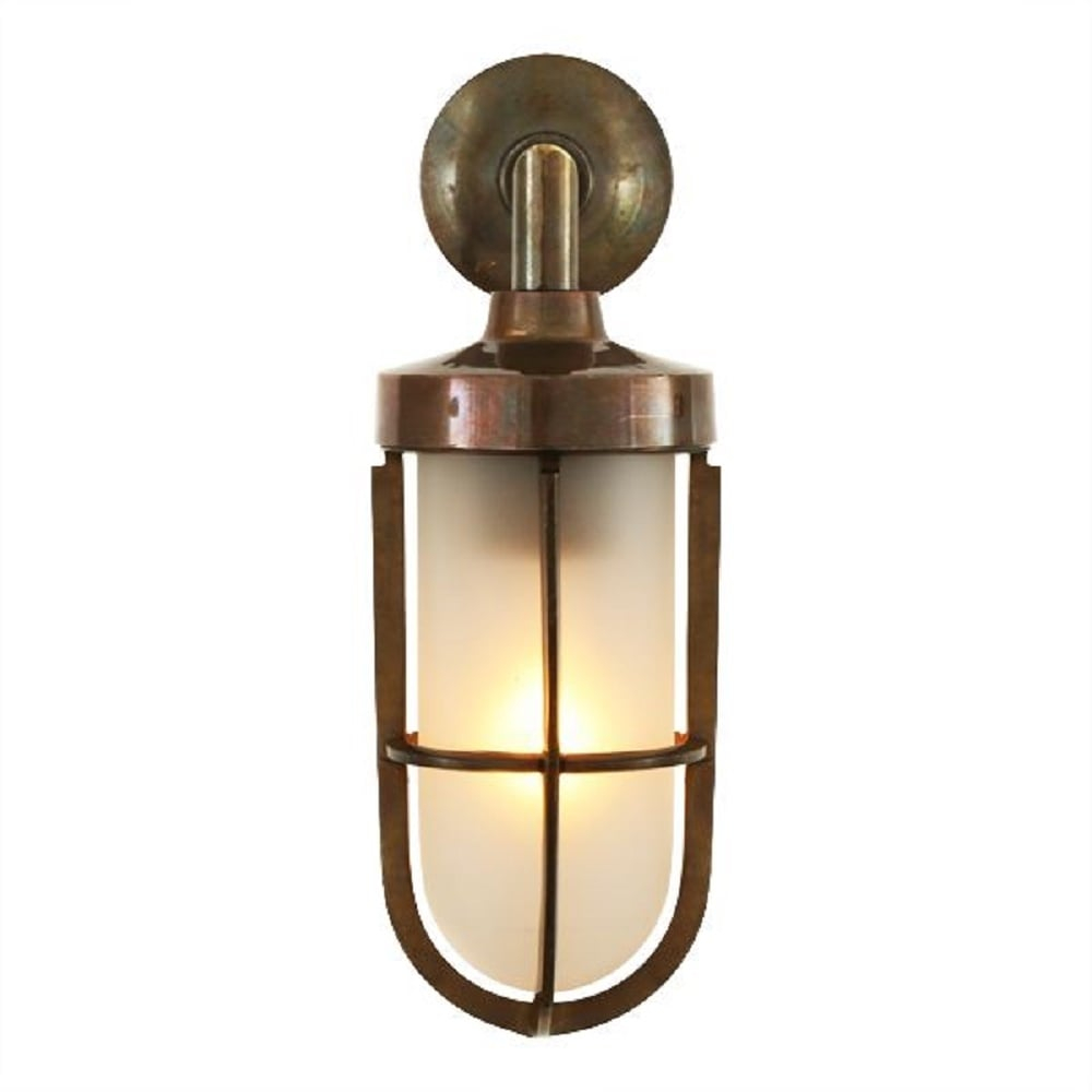 Nautical Design Solid Antique Brass Wall Light With Frosted Glass Shade