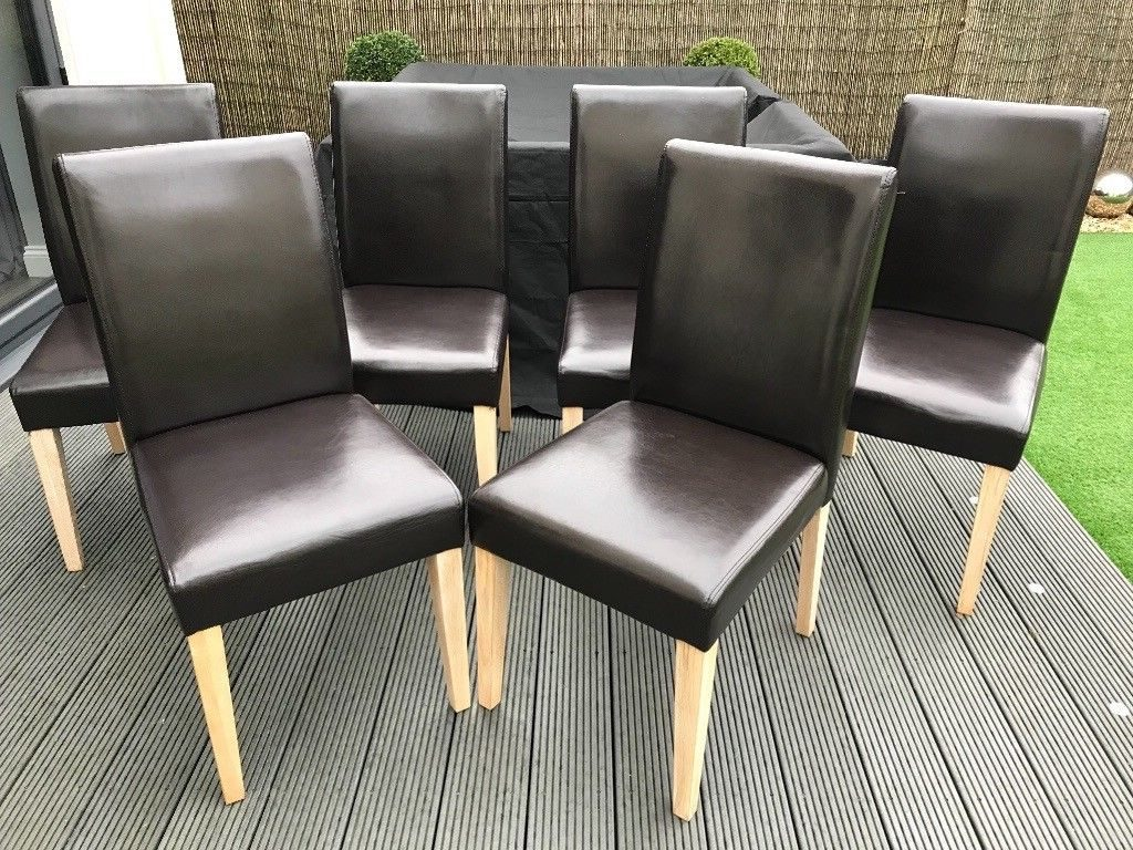 Next Moda Faux Leather Dining Chairs Chocolate Brown Colour Set