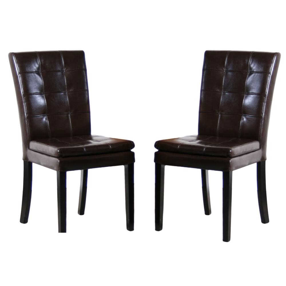 Noble House Crayton Chocolate Brown Leather Tufted Dining Chair Set