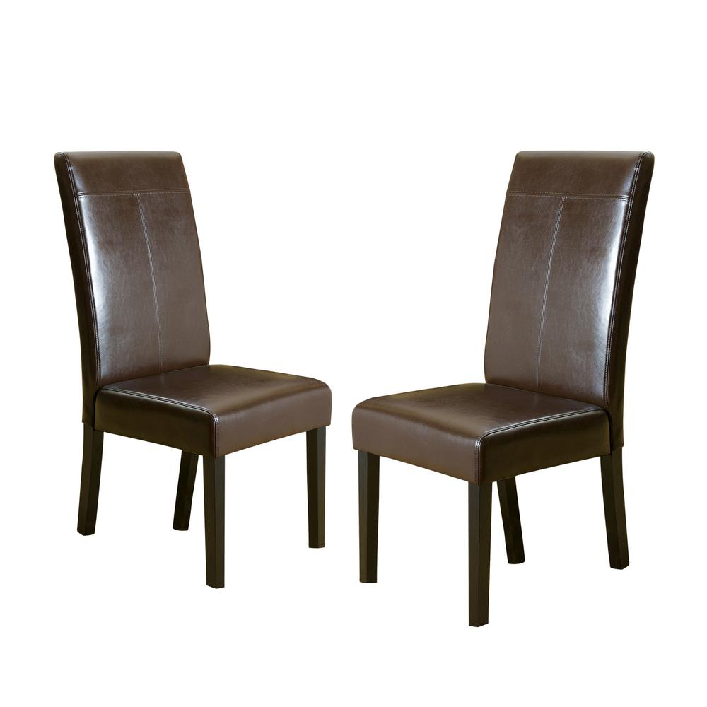 Noble House Lissa Chocolate Brown Pu T Stitch Dining Chairs Set Of