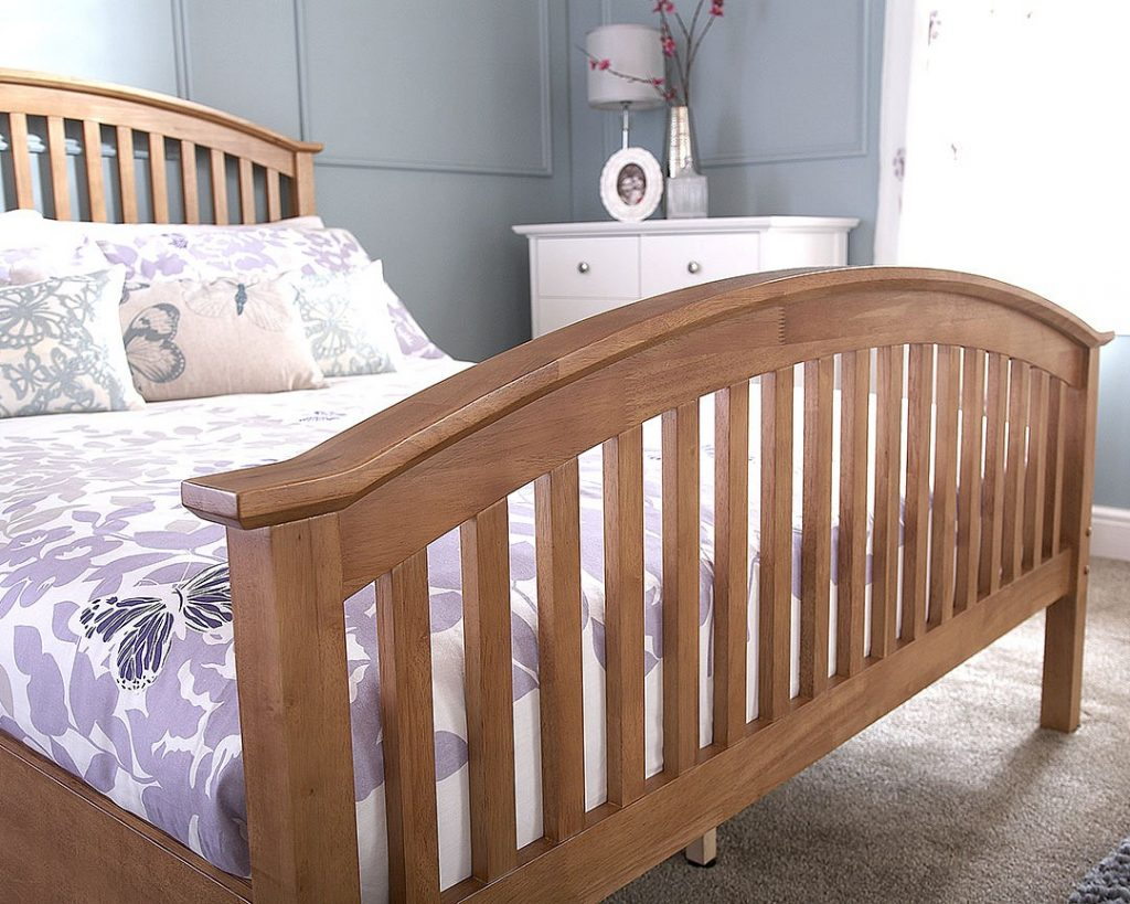 Oak Veneer Wooden Curved High End Bed Frame 4 Sizes Available